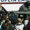 Globe/Roger Nomer<br /> Sean Casey talks about the filming tourret on the TIV 2 vehicle during a visit to East Middle School on Thursday.