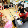 Globe/T. Rob Brown<br /> Third-grade teacher Wendy Winter, right, leads a game of Brain Quest Smart! with her class at McCune (Kan.) Elementary School Thursday afternoon, March 7, 2013.