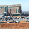 Construction continues Thursday on the north side of the new Mercy Hospital 100-acre campus, where the main entrance will be located. <br /> Globe | Laurie Sisk