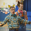 Globe/Roger Nomer<br /> Stefan Barner, left, and Tim Petty perform as part of a touring company from the Tulsa Opera on Thursday morning at St. Mary's Elementary.