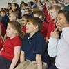 Globe/Roger Nomer<br /> St. Mary's Elementary students watch a performance by a touring group from the Tulsa Opera on Thursday morning.