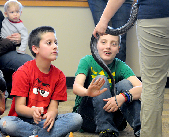 Eleven-year-old Riley Bowers, left and Elisha Bender, right, pet a black rat snake held by Missouri Department of Conservation's Lauren Copple during a presentation about snakes on Tuesday at Wildcat Glades.<br /> Globe | Laurie Sisk