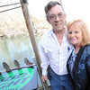 Co-owners Tom Ferguson, left and Ann Galbreath stand on the deck outside The River's Bend near Reddings Mill on Tuesday night.<br /> Globe | Laurie Sisk