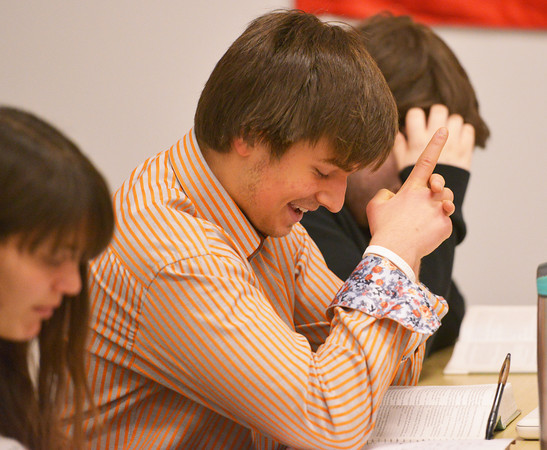 Globe/Roger Nomer<br /> Joplin High senior Brooks Butler reads from a play during an AP Literature and Composition class on Tuesday.
