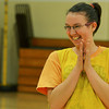 Globe/Roger Nomer<br /> Azalea Ray, 15, celebrates a bucket during practice for the Special Olympics basketball team on Tuesday at Neosho Junior High School.