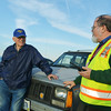 Globe/Roger Nomer<br /> Jim Johannes, left, and Ray Brown talk about storm spotting on Feb. 27, 2014.