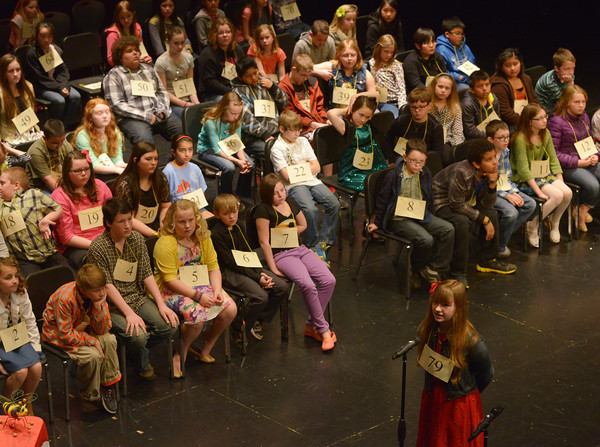 Globe/Roger Nomer<br /> A full house of 82 spellers watch Maiah Benton, a sixth grader at Westview Elementary in Neosho, during Monday's Spelling Bee.