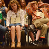 Globe/Roger Nomer<br /> (from left) Ty Jauert, a fifth grader at Alexander Elementary in Commerce, Emily Thornton, a sixth grader at Anderson Elementary in Anderson, and Marshall Vaughn, a fifth grader from the Association of Christian Homeschooling Families, wait to spell their words on Monday.