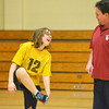 Globe/Roger Nomer<br /> Makayla Slawter, 17, talks with her coach Keith Patterson during practice for the Special Olympics basketball team on Tuesday at Neosho Junior High School.