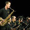 Conner Callahan leads the Pittsburg State University Jazz Band with a tenor saxophone solo on Friday at Pittsburg's Memorial Auditorium during the 2014 PSU 40th Annual Jazz Festival.<br /> Globe | Laurie Sisk