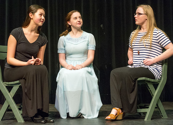"""From the left: Audrey Garoutte (Kathryn), Sophia Day (Grace) and Mati Goebel (Irene) rehearse their roles for the Carl Junction High School production of """"The Radium Girls"""" on Friday at the Jerry B. Stark Performing Arts Center.<br /> Globe 