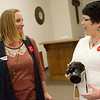 Globe/Roger Nomer<br /> Lauri Lyerla, left, Neosho, talks with Jane Massey on Friday during a bone marrow screening event at First Baptist Church in Neosho.