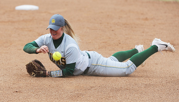 Globe/Roger Nomer<br /> Missouri Southern's Myranda Stewart knocks down a grounder during Wednesday's game against Central Missouri.