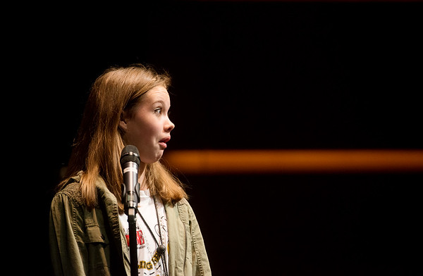 Globe/Roger Nomer<br /> Lo Jones, a sixth grader at Carl Junction Intermediate School, expresses her surprise at spelling a word correctly Monday's Joplin Globe Spelling Bee at Thomas Jefferson Independent Day School.