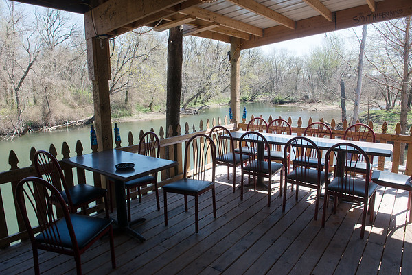 Globe/Roger Nomer<br /> The patio of River's Bend Campground Bar and Grill overlooks the river.