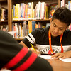 Globe/Roger Nomer<br /> Randi Calderon, sophomore, works in the library on Wednesday at Pittsburg High School.