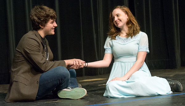 "From the left: Trea Bowman (Tom) and Sophia Day (Grace)  rehearse their roles for the Carl Junction High School production of ""The Radium Girls"" on Friday at the Jerry B. Stark Performing Arts Center.<br /> Globe 