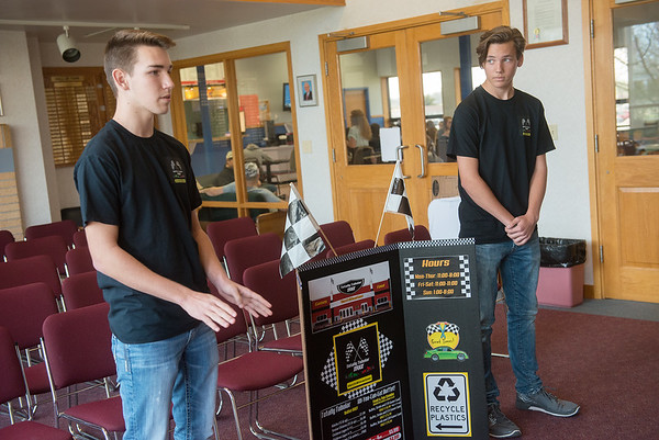 Globe/Roger Nomer<br /> Justin James, left, and Carter Fletcher, Cassville sophomores, make their pitch for Totally Tubular on Wednesday at Crowder College.