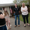 Globe/Roger Nomer<br /> Meri Toliver talks with (from left) Brooke, Nick, Susan and Mark Wear on Friday at her house in Joplin.