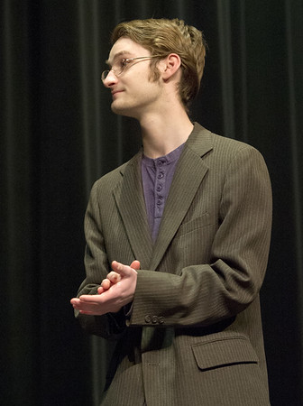 "Cade Hensley rehearses his role as Mr. Roeder for the Carl Junction High School production of ""The Radium Girls"" on Friday at the Jerry B. Stark Performing Arts Center.<br /> Globe 