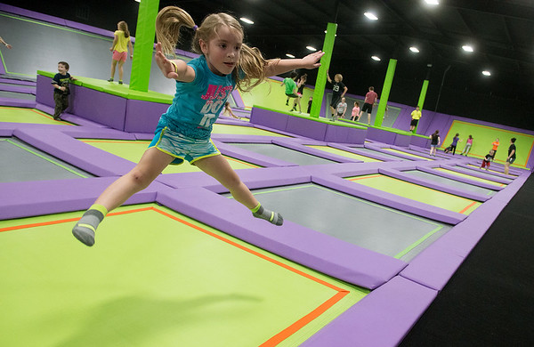 Globe/Roger Nomer<br /> Brittany Claborn, 4, Webb City, bounces on Tuesday at Soar Trampoline Park.