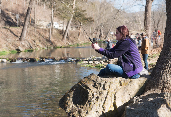 Globe/Roger Nomer<br /> Kandence Maggard, 12, Cassville, fishes on Wednesday at Roaring River State Park.