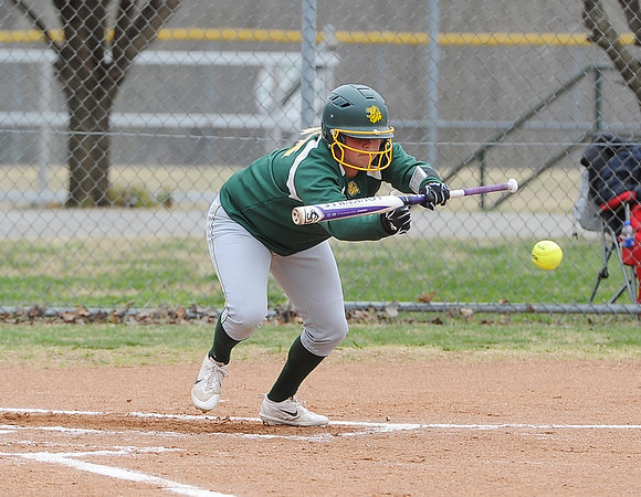 Globe/Roger Nomer<br /> Missouri Southern's Shelby Friend put down a sacrifice bunt to bring home a run during Wednesday's game against Central Missouri.