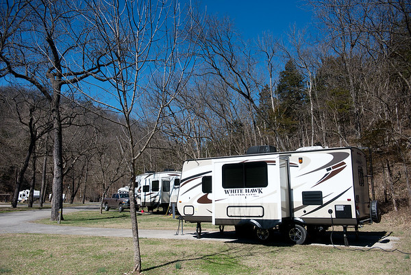 Globe/Roger Nomer<br /> Campers line up at the Roaring River State Park campground on Wednesday.
