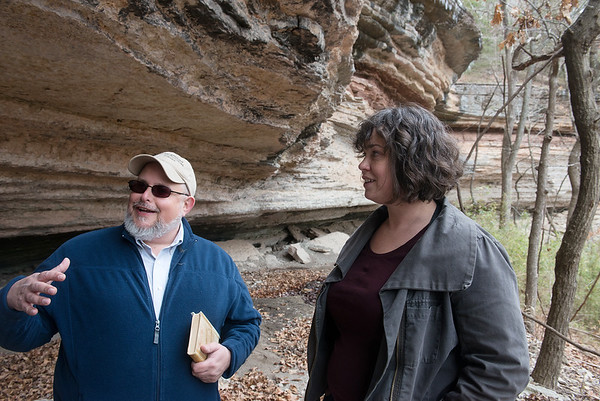 Globe/Roger Nomer<br /> Jamie Brandon and Lydia Rees talk about the life of Arkansas bluff dwellers at the Breckenridge site on Wednesday.