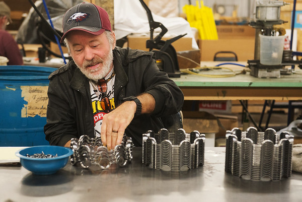 Globe/Roger Nomer<br /> Jimmy Martin works in the manufacturing area of Joplin Workshops on Friday.