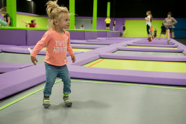 Globe/Roger Nomer<br /> Micah Right, 1, Webb City, bounces on Tuesday at Soar Trampoline Park.