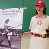 Globe/Roger Nomer<br /> Laci Connelly, a seventh grader at Seneca, gives her presentation on the All-American Girls Professional Baseball League on Friday during History Day at Missouri Southern.