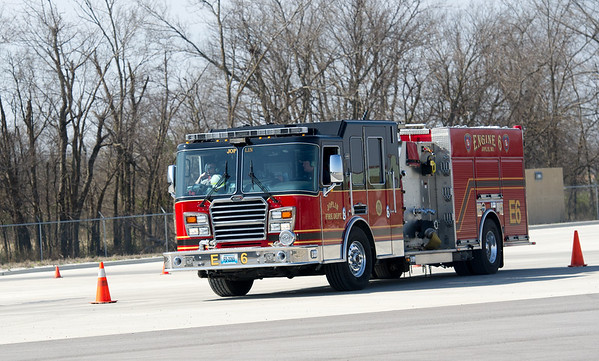 Joplin firefighters undergo driver training on Thursday at the new City of Joplin Public Training Safety Facility.<br /> Globe | Laurie Sisk