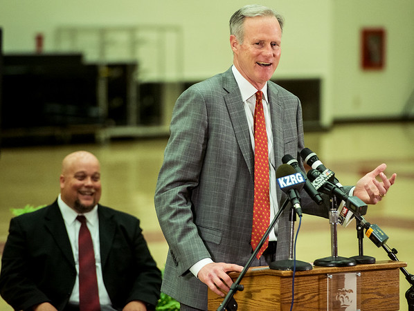Globe/Roger Nomer<br /> Kim Anderson talks about becoming the new head basketball coach at Pittsburg State during a press conference on Monday at John Lance Arena.