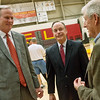 Globe/Roger Nomer<br /> Current Men's Head Coach Kim Anderson talks with Pittsburg State President Steve Scott and former Head Coach Gene Iba on Monday at John Lance Arena.