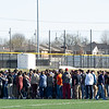 Joplin High School students, staff and friends of Spencer Nicodemus gather Thursday afternoon at JHS for a vigil to memorialize the JHS student who died in an accident on Thursday morning at Irving Elementary.<br /> Globe | Laurie Sisk