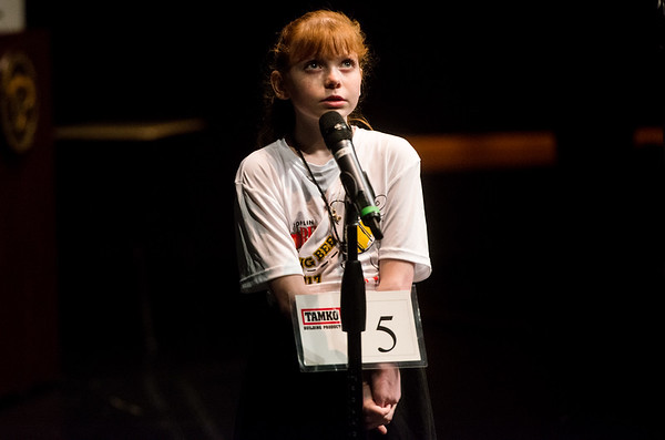 Globe/Roger Nomer<br /> Zoey Hester, a fourth grader a Westview Elementary, spells a word for the judges during Monday's Joplin Globe Spelling Bee at Thomas Jefferson Independent Day School.