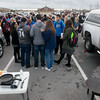 Globe/Roger Nomer<br /> Friends of Spencer Nicodemus gather in his parking spot for breakfast on Monday at Joplin High School.