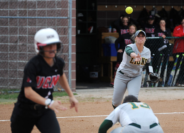 Globe/Roger Nomer<br /> Missouri Southern's Ashley Caldarella throws out a Central Missouri runner on Wednesday.