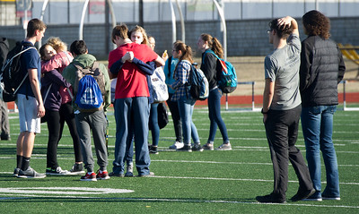 Joplin High School students, staff and friends of Spencer Nicodemus gather Thursday afternoon at JHS for a vigil to memorialize the JHS student who died in an accident on Thursday morning at Irving Elementary. Globe | Laurie Sisk