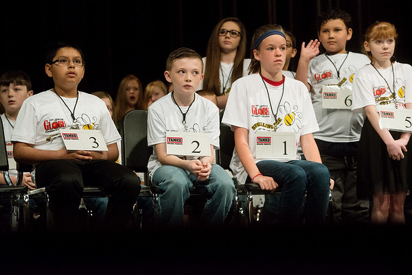Globe/Roger Nomer<br /> Nervous spellers wait their turn in the first round of Monday's Joplin Globe Spelling Bee at Thomas Jefferson Independent Day School.