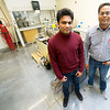 Pittsburg State University graduate student Charith Ranaweera poses with his professor, Dr. Ram Gupta at PSU's Kansas Polymer Research Center on Wednesday. Ranaweera has designed a fire retardent foam made from orange peels.<br /> Globe | Laurie Sisk