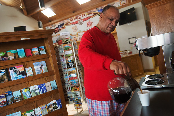 Globe/Roger Nomer<br /> Kirbal Singh, Bakersfield, Calif., pours coffee on Wednesday during a stop at the Miami Travel Info Center.