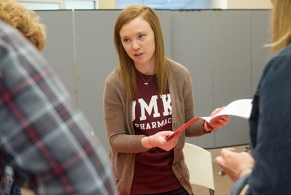 Globe/Roger Nomer<br /> Angela Kaucher, a third-year pharmacy student at UMKC, talks about the screening process with potential donors on Friday during a bone marrow screening event at First Baptist Church in Neosho.