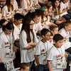 Globe/Roger Nomer<br /> Students line up for their turn to spell in Monday's Joplin Globe Spelling Bee at Thomas Jefferson Independent Day School.