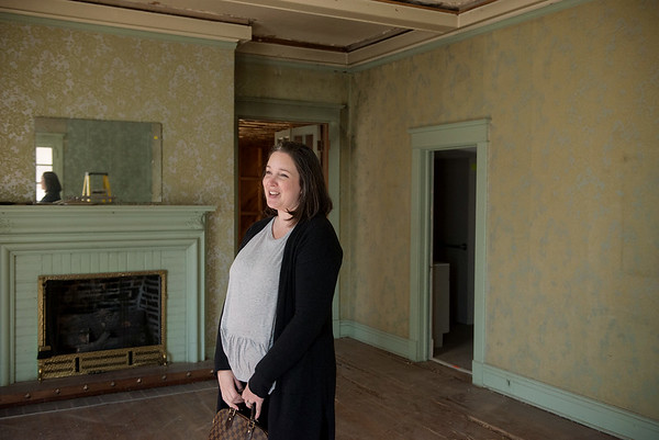 Andie Eschbacher talks about her family's purchase of the Sharp Murphy house on Thursday.<br /> Globe   Roger Nomer