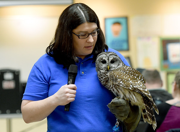 Delia Lister, Director of Pittsburg State University's Nature Reach, holds a barred owl during a presentation before a packed house on Saturday at George Washington Carver National Monument.<br /> Globe | Laurie Sisk