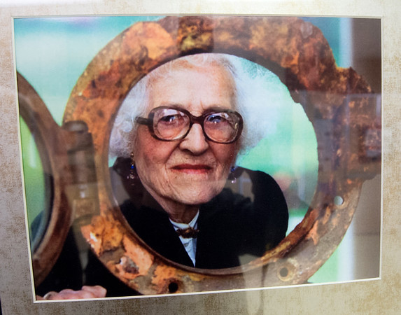 A portrait of Millvina Dean, the Titanic's last living survivor, is part of a new exhibit on the Titanic at the Joplin Museum Complex. Dean is shown framed by a porthole of part of the salvaged ship. The exhibit runs for a limited time through April 20.<br /> Globe | Laurie SIsk