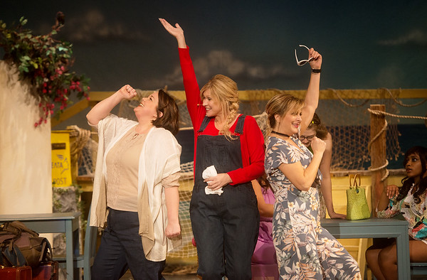 """(from left) Meredith Lynn, as Rosie, Diana Sly, as Donna, and Shelly Tarter, as Tanya, rehearse a scene from """"Mama Mia!"""" at Galena High School on Tuesday.<br /> Globe 