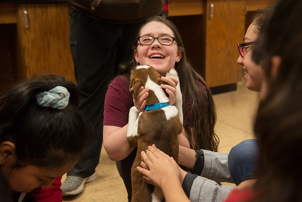 Yariana Rodriguez, an eighth grader at Carthage Junior High School, pets Lincoln during a Wonder Women Club meeting on Monday at the school.<br /> Globe | Roger Nomer